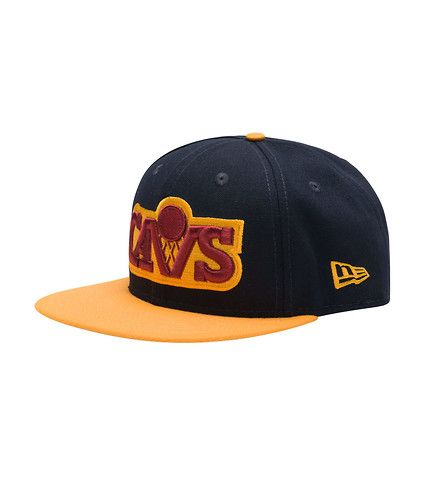 NEW+ERA+Cleveland+Cavaliers+embroidered+team+logo+Navy+brim+and+gold+crown+NEW+ERA+logo+on+the+side+Adjustable+strap+for+custom+fit+Cavs+script+logo+on+the+back