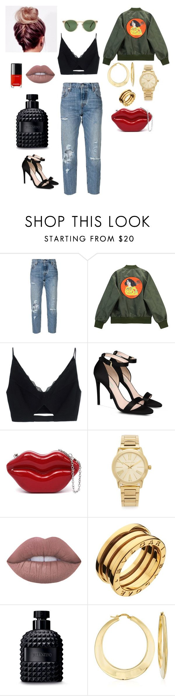 """GETO CHIC.."" by evitaom on Polyvore featuring Levi's, Chicnova Fashion, Versace, STELLA McCARTNEY, Michael Kors, Lime Crime, Bulgari, Valentino, Ross-Simons and Oliver Peoples"