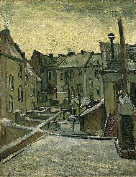 van Gogh Houses in Antwerp in the Snow -Brown Framed Canvas Print Repro 22x28