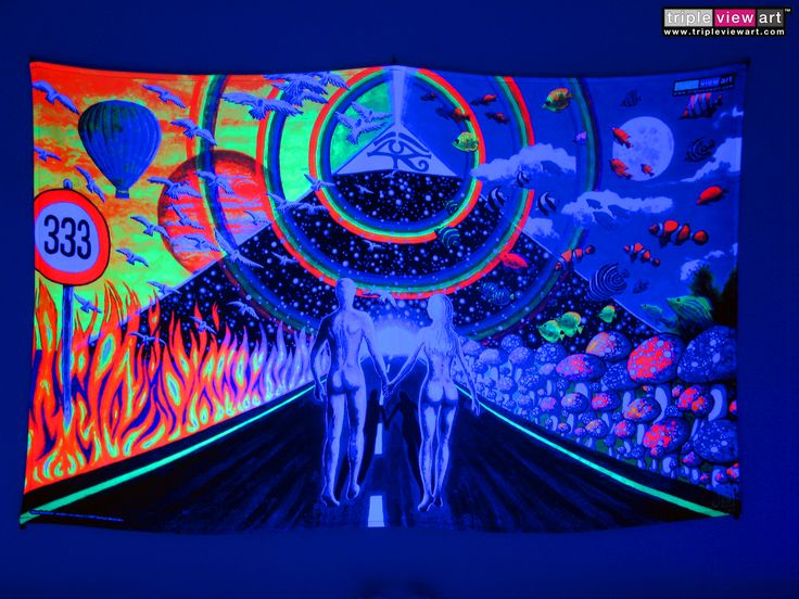 """""""New Horizons"""" UV-Blacklight Fluorescent Glow Psychedelic Art Backdrop, £90 in Tripleview Art Shop. #psychedelic #psy #goa #trance #psytrance #goatrance #rave #club #festival #trippy #hippie #esoteric #mystic #spiritual #visionary #symbolism #UV #ultraviolet #blacklight #fluorescent #fluoro #fluo #neon #glow #luminescent #art #backdrop #banner #wallhanging #tapestry #deco #couple #pyramid #eyeofhorus #rainbow #love #333"""