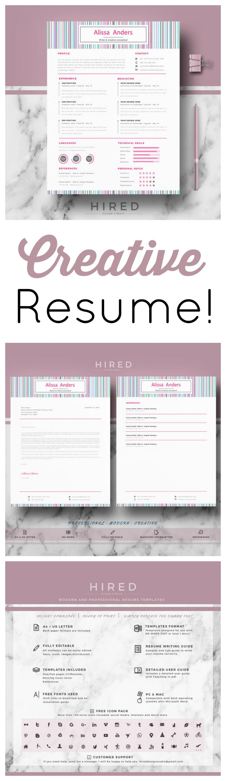 Love this creative resume!! And love that there is a resume writing guide where you can find lots of tips and examples to write your best resume. Also you will find tips to successfully face your job interview! #resume #career #jobhunting #interview #ad #CV #resumetemplate #cvtemplate #coverletter