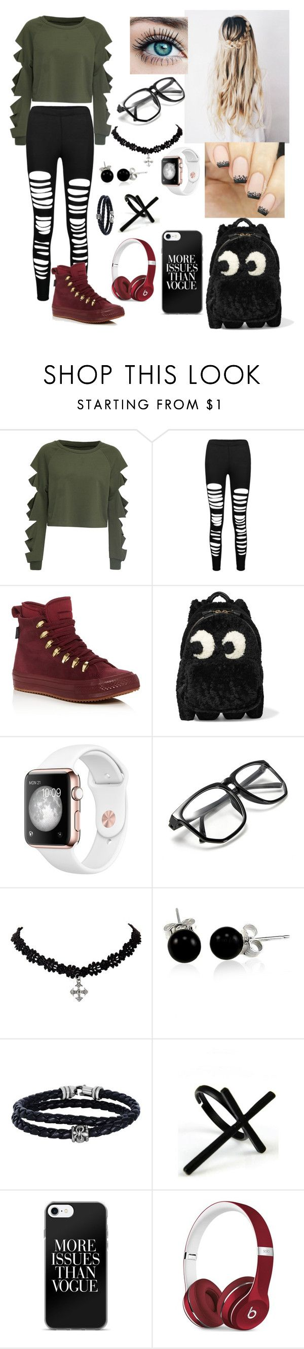 """#Hipster4"" by cj-cat ❤ liked on Polyvore featuring WithChic, Converse, Anya Hindmarch, Bling Jewelry, Phillip Gavriel, Emi Jewellery and Beats by Dr. Dre"
