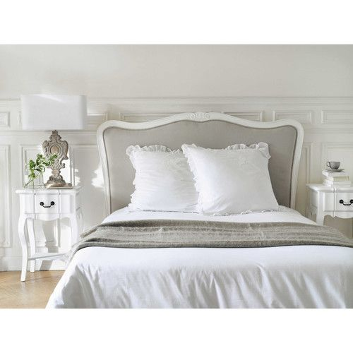 parure de lit 220 x 240 cm en coton blanche carpe diem. Black Bedroom Furniture Sets. Home Design Ideas