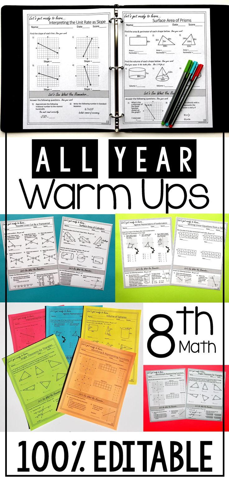 "I love these 8th grade math warm ups!  They are the perfect no-prep way to start my day each morning.  I love how they ""warm up"" my students to learn each new topic.  Even better they are aligned to the TEKS"