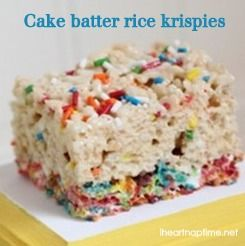 Cake batter rice krispy treats on iheartnaptime.net .... seriously the BEST! #recipes #desserts