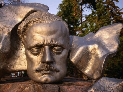 Sibelius face relief (steel) by Eila Hiltunen 1967, Sibelius Park, Helsinki - Sibeliuksen kasvoreliefi