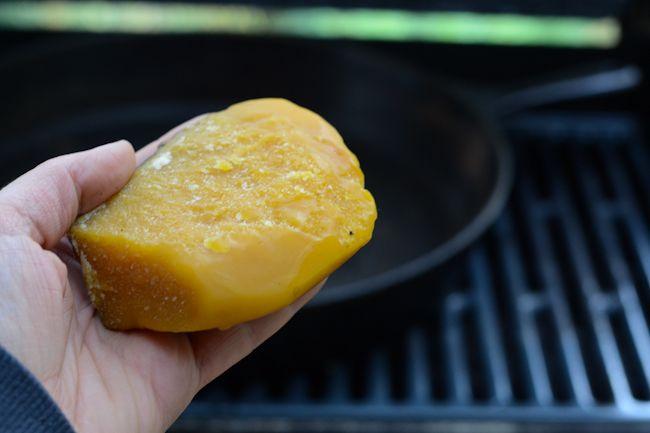 Seasoning cast iron with beeswax