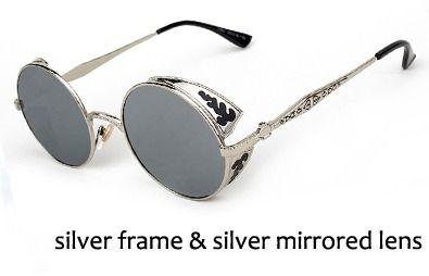 óculos steampunk cor prata lente espelhada pronta entrega