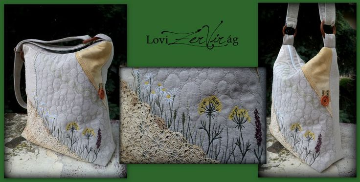 Embroidered bag with flowers and lace by ZerVir