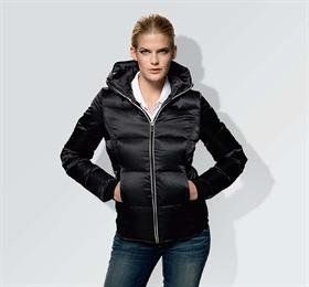 BMW Ladies' Down Jacket -Extra Small by BMW. $199.99. With its large hood and contemporary tailored cut, this thick down-filled jacket makes even gray winter days look instantly more agreeable. Wind and water-repellent with two zip pockets at the front and white piping along the hood and zipper. BMW tonal wordmark on the sleeve. 100% polyester. Filling: 80% duck down, 20% duck feathers. Insulation: 600 fill power. European fit. Import.