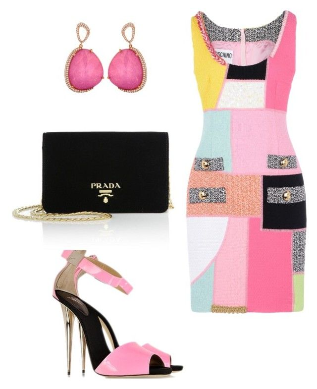 """""""Color Blocks"""" by kmags4 ❤ liked on Polyvore featuring Moschino, Giuseppe Zanotti and Prada"""