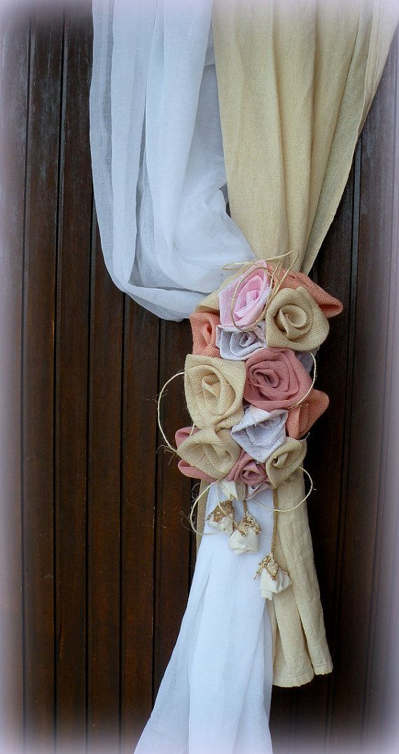 Pale roses Burlap Curtain Tie Back  Pink Roses by MyBurlapStudio