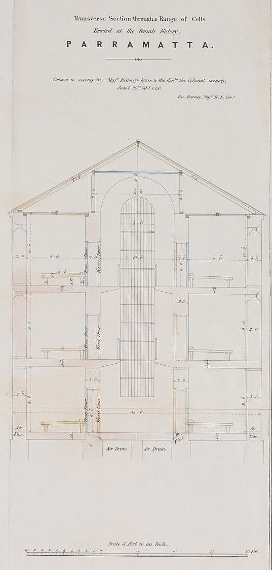 Transverse Section through a Range of Cells erected at the Female Factory, Parramatta 1837