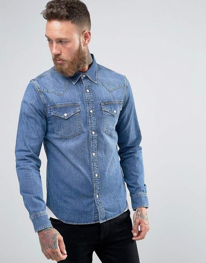 c97cce72ea Lee western denim shirt slim fit blue stance mid wash