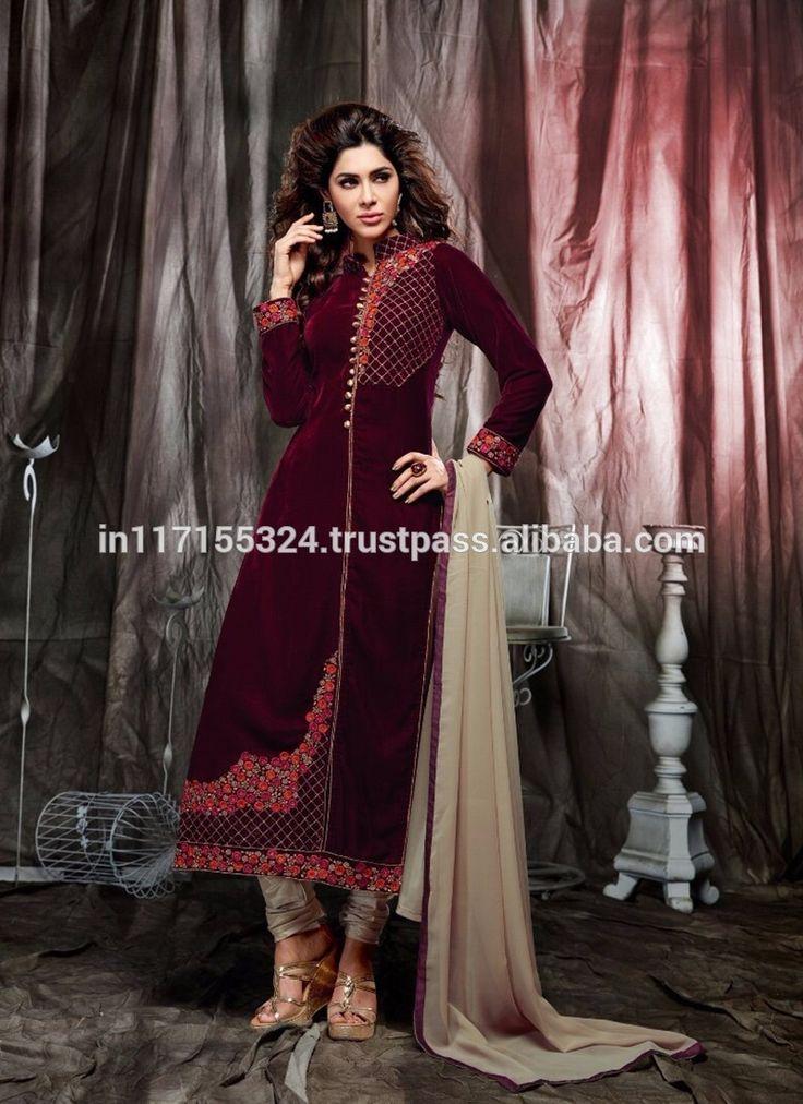 Designer latest straight long pakistani salwar kameez - Neck designs for ladies suit - Frock salwar kameez - India clothing