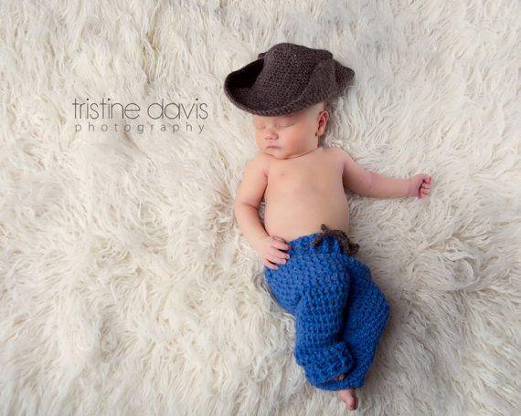Cowboy Newborn Prop Set Crochet Hat Jeans Pants Baby Boy Photography Prop by The Damask Baby