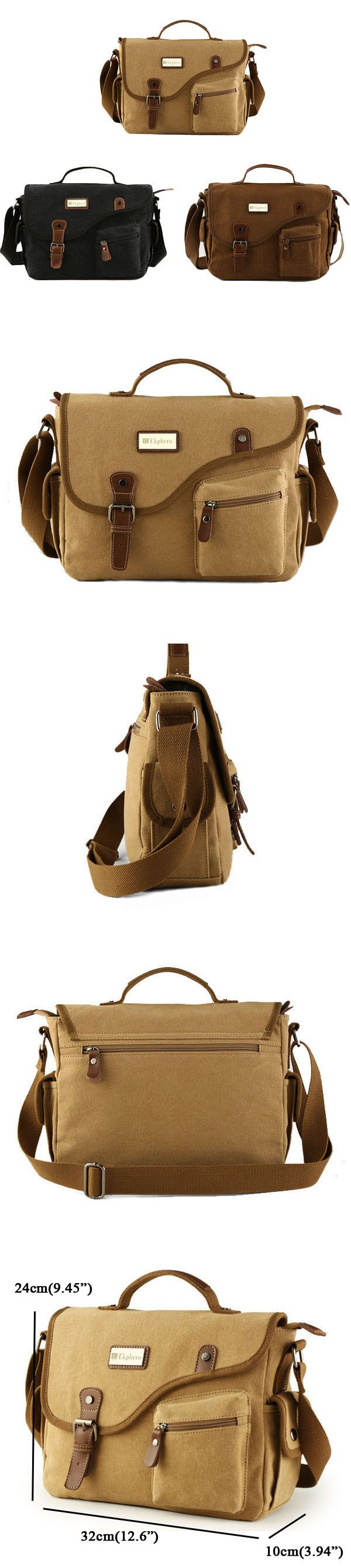 Ekphero® Men Canvas Casual Big Khaki Black Outdoor Shoulder Crossbody Bag Handbag