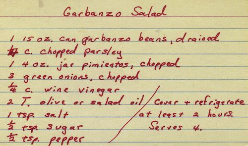Garbanzo Salad | From my mom's recipe collection. | Phil! Gold | Flickr