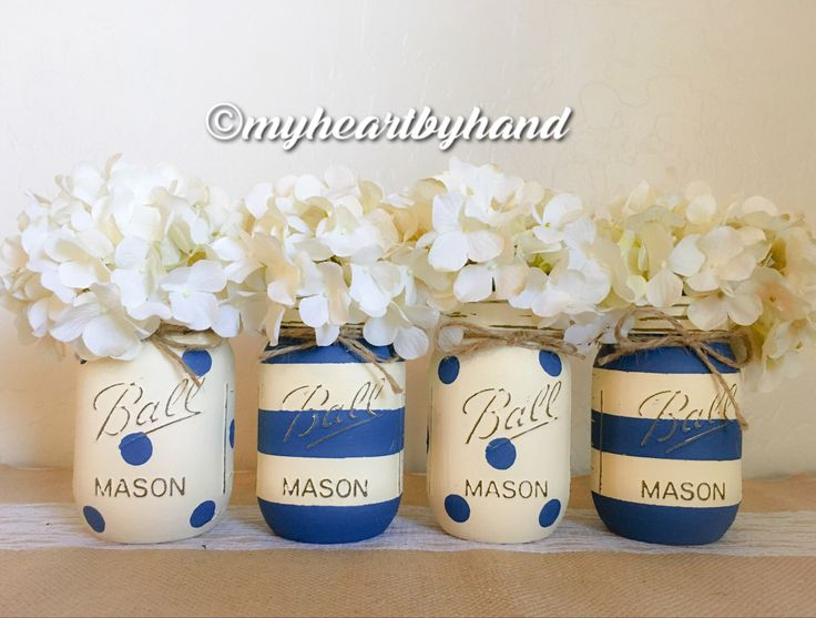 Nautical Baby Shower Centerpiece, Mason Jar Centerpieces, Nursery Nautical  Decor, Flower Vases, Painted Ball Jars, Stripes And Polka Dots
