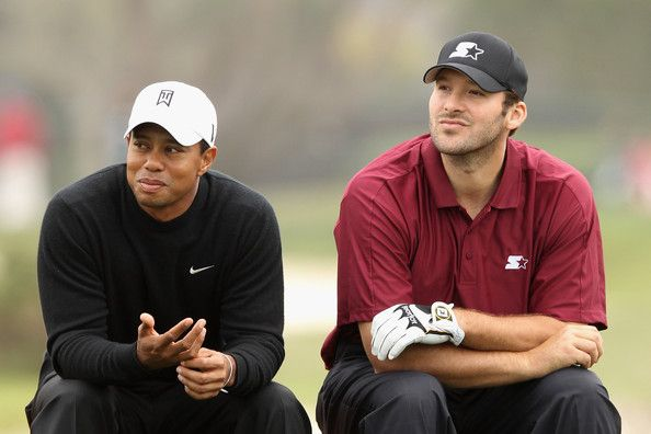Tony Romo Photos Photos - (L-R) Tiger Woods and NFL football quarterback for the Dallas Cowboys, Tony Romo wait on the sixth tee during the second round of the AT&T Pebble Beach National Pro-Am at the Monterey Peninsula Country Club (Shore Course) on February 10, 2012 in Pebble Beach, California. - AT&T Pebble Beach National Pro-Am - Round Two