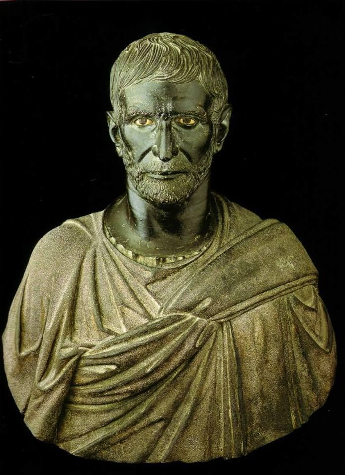 Bronze bust of Lucius Junius Brutus founder of the Roman Republic, c 3rd or 4th c BCE, possibly by an Etruscan artisan, Capitoline Museums.