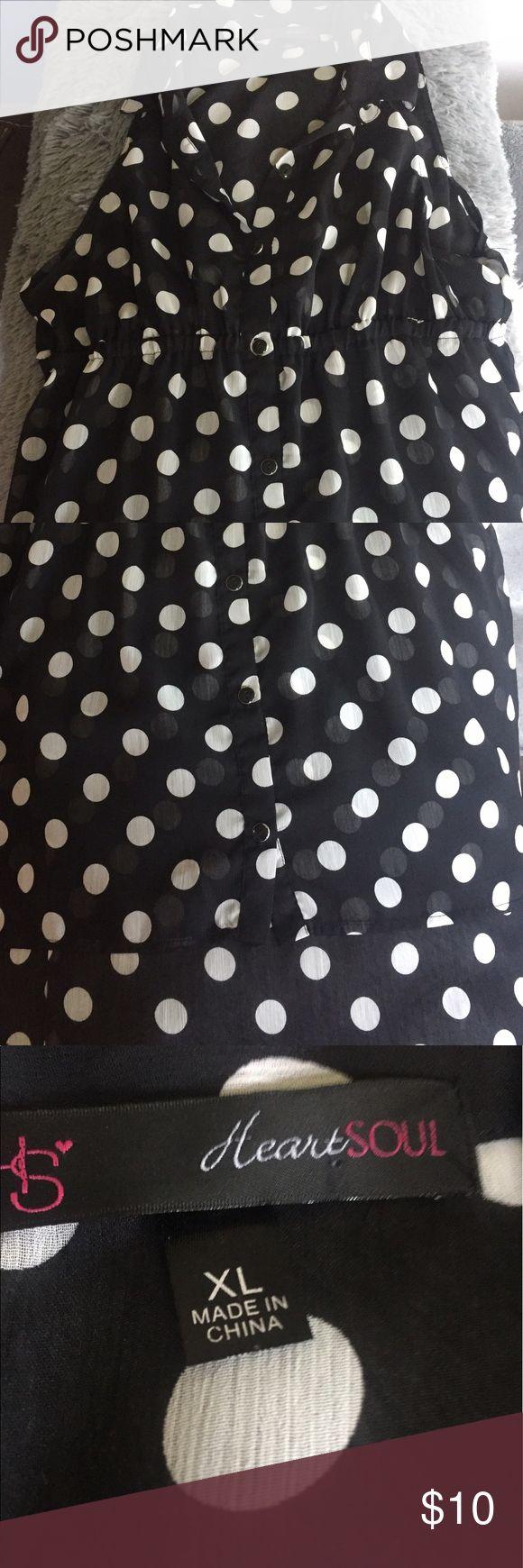 HeartSoul Sheer Women's Top XL Polka Dot Sleeveless, Sheer, No Holes Or Stains. Non Smoking Home HeartSoul Tops Blouses
