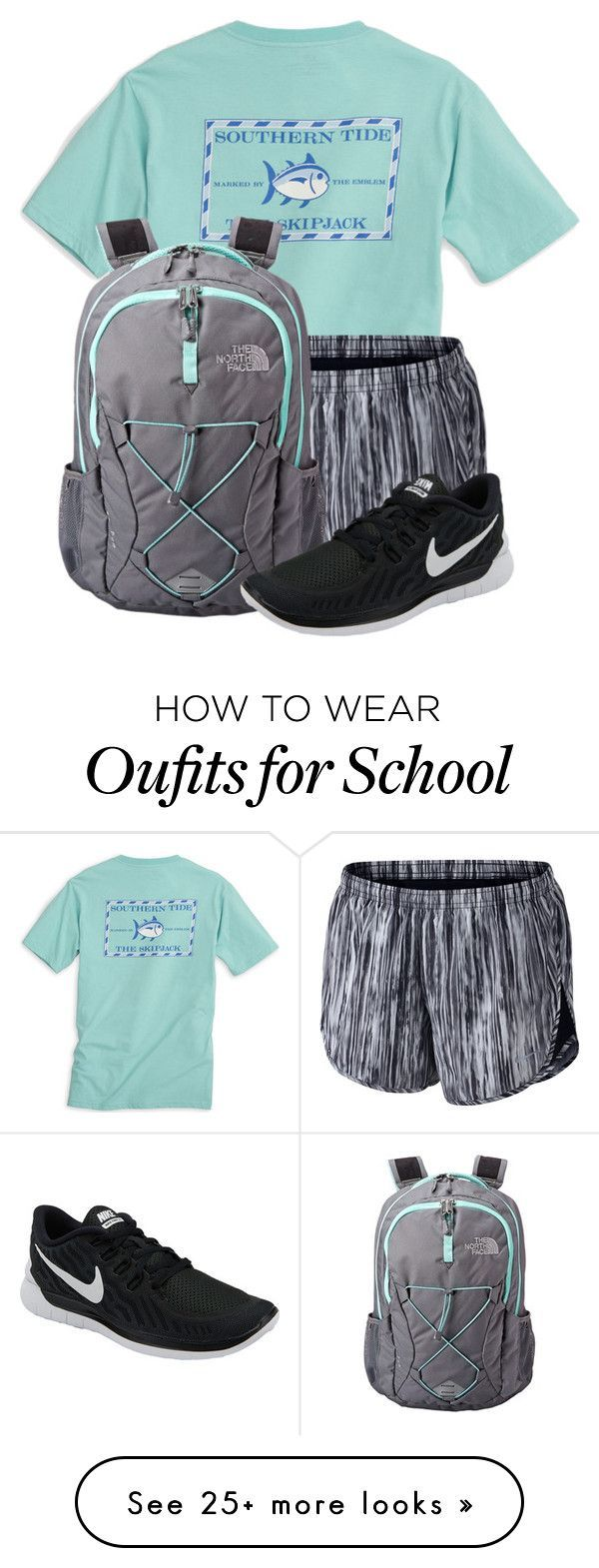 """When you HAVE to go to school"" by newyearscutie on Polyvore featuring Southern Tide, NIKE and The North Face"