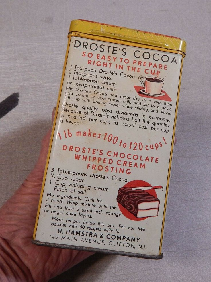 Details about Vintage Droste's Cocoa Haarlem Holland 1 Lb. Tin Raised Letters On Lid