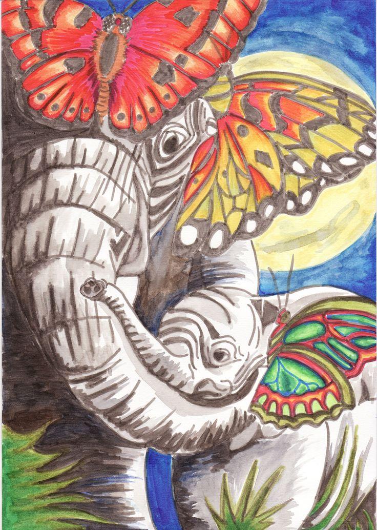 olifanten en vlinders, aqua marker, Sigrid Kooiman April 2014