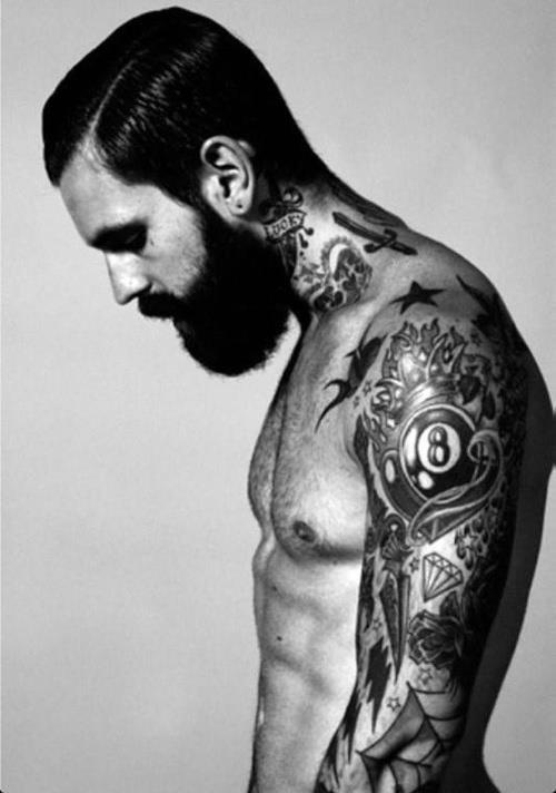 Ricki Hall | tattoo | love | black  white | photography | beard | vintage feel | man | model | carless |
