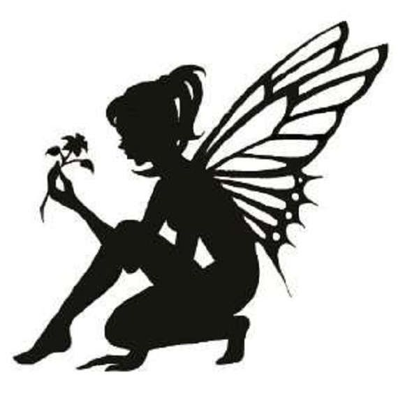 kneeling fairy silhouette decal by craftscustoms on etsy