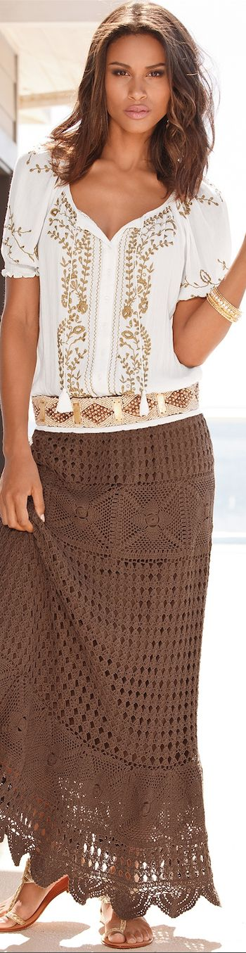 BOHO CHIC, CASUAL CROCHET, AND LACE. Brown long crochet skirt. Summer #women #fashion outfit #clothing style apparel @roressclothes closet ideas