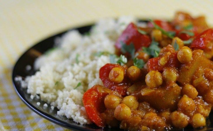 Curry met kikkererwten en zoete aardappel