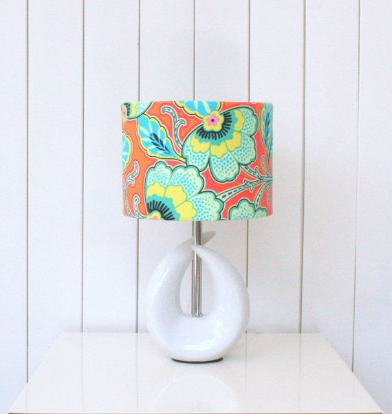 Orange floral fabric lampshade drum - small fabric light shade, for table lamps