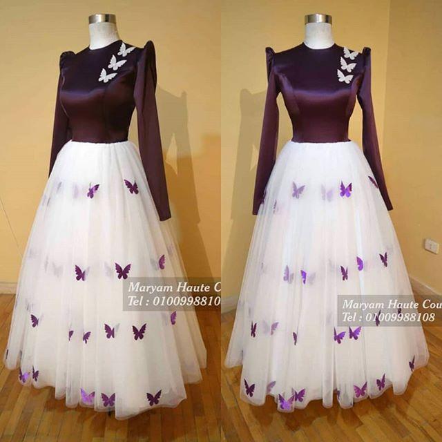 فستان موف و اوف وايت بالفراشات متاح للإيجار او البيع لأي استفسار واتساب رقم 01009988108 منشن لصحبتك فس Muslim Fashion Dress Fashion Dress Party Soiree Dress