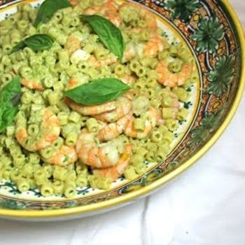 pasta with shrimp & sicilian pesto-nice for feast of the seven fishes