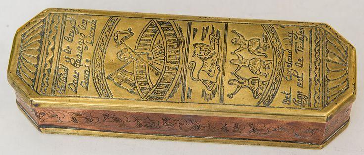 Antike Tabatiere Tabakdose 18. Jahrhundert  Messing Holland Niederlande
