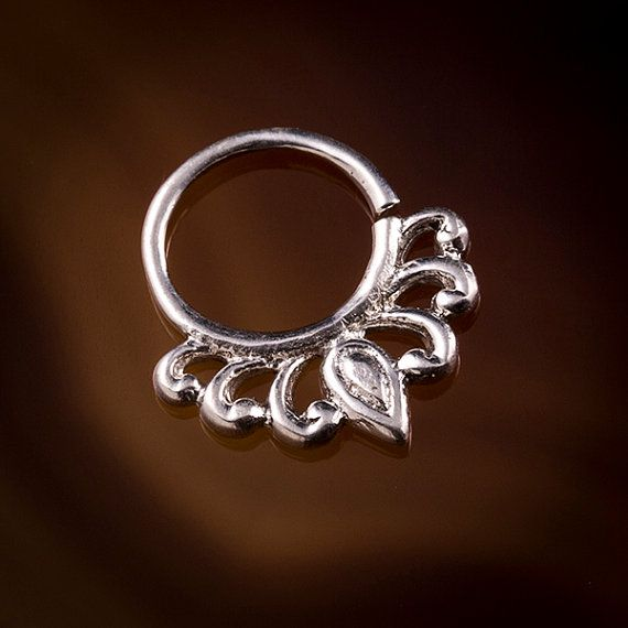 LILY DROPLET 1.6mm (14g) and 1mm (18g) septum piercings,tragus ring,silver septum,ornate septums,septums, (Code 31 )