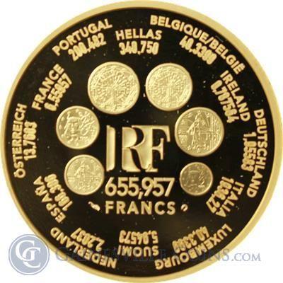 2000 France 1 oz Euro Conversion Proof Gold Round .999 Fine