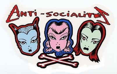 ANTI SOCIALITES GOTH GIRLS Awesome VINYL STICKER/DECAL FOR SALE • $4.49 • See Photos! Money Back Guarantee. ANTI SOCIALITES STICKER/VINYL DECAL Art by Archaic Smile Stickers/Decals are printed on Transparent Vinyl Decal measures 3 1/2 inches high x 5 3/4 inches wide BRAND NEW MINT CONDITION GREAT 350441177851