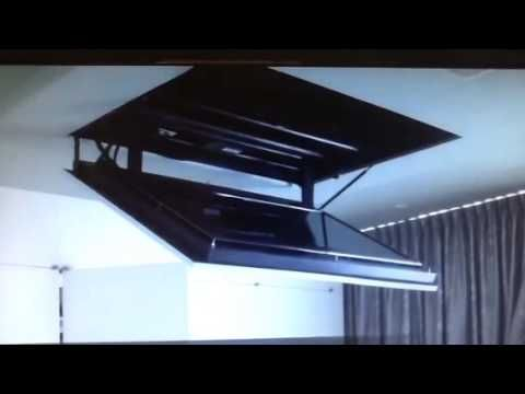 Motorized flip down flat screen TV ceiling mount - YouTube