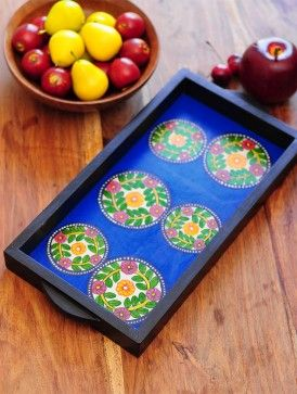 Floral Design Contemporaty style Pattachitra Painting Wooden Tray 15.5in x 7.5in