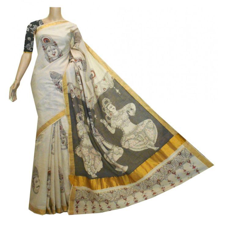 Kerala cotton saree with hand painted mukham Kalamkari