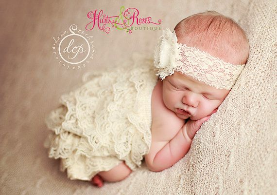 Vintage Ivory Baby Lace Petti Romper n Headband Set.Ivory Romper-Vintage lace romper.Birthday Outfit.Onesie.Coming home outfit.Baby Girl on Etsy, $21.95