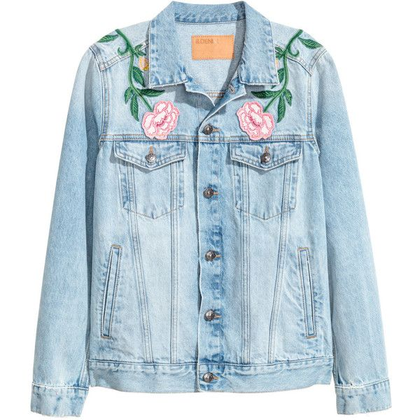 Embroidered denim jacket ❤ liked on Polyvore featuring outerwear, jackets, flap jacket, blue jackets, jean jacket, embroidered jean jacket and embroidery jackets