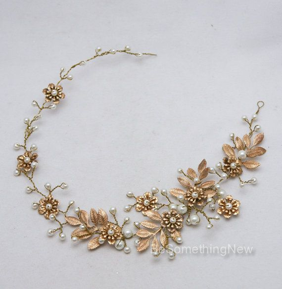 Wedding Hair Vine Brass Flower and Leaf Bridal por BeSomethingNew