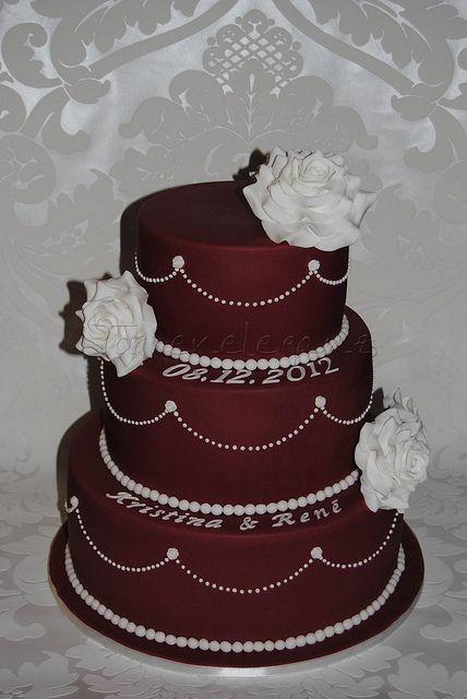Dark Red Wedding Cake | Flickr - Photo Sharing!
