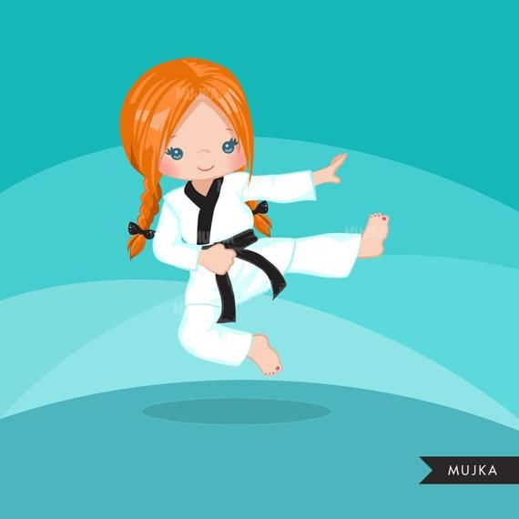 Karate Kid Clipart Karate Girls Card Making Embroidery Etsy Taekwondo Niños Karate Kid Dibujos De Taekwondo