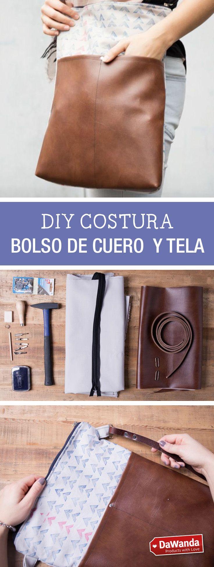 Aprende a confeccionar tu propio bolso de cuero y tela. Tutorial DIY en DaWanda.es