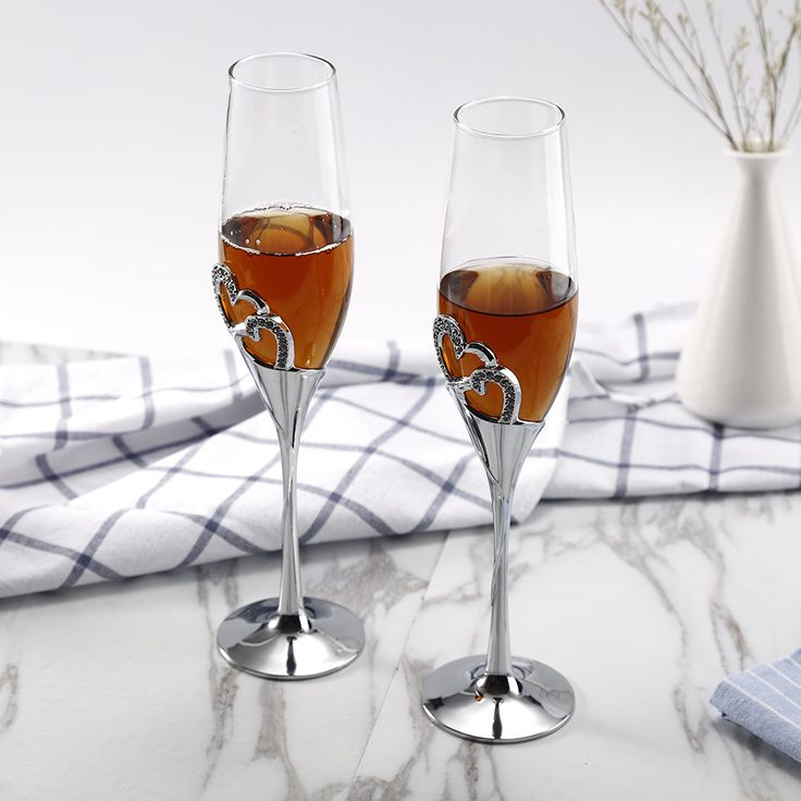 2 PCS / Set Crystal Wedding Toasting champagne flutes glasses Cup Wedding Party …